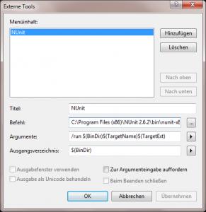 NUnit als externes Tool in Visual C#