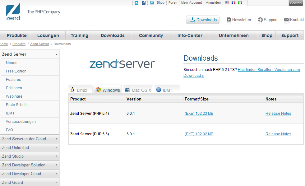 Die Downloadseite des Zend Servers