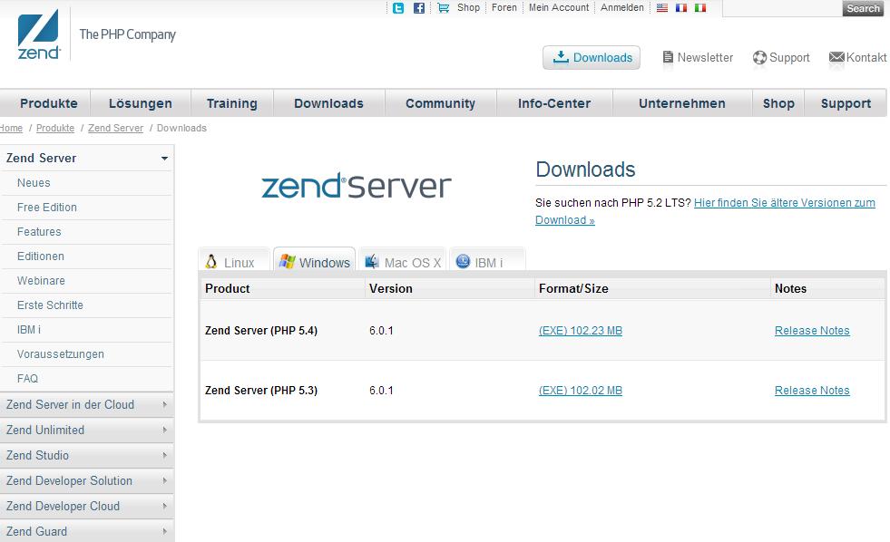 Die Downloadseite des Zend Servers