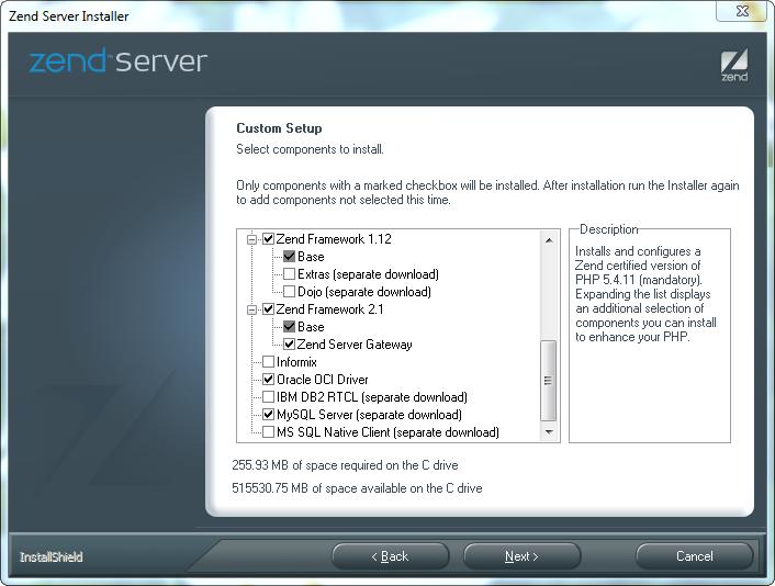 Custom Setup des Zend Servers