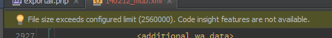 File size exceeds configured limit (2560000), code insight features not available